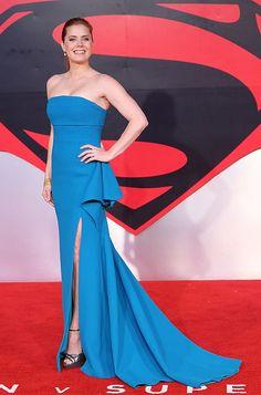 Amy Adams wearing the Jimmy Choo PATSY platform sandal at the Batman v. Superman Premiere in London