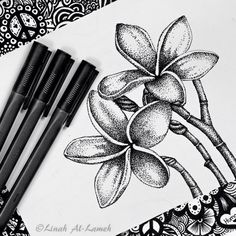 art, black and white, doodle, drawing, flower, flowers, pointillism, micron pen