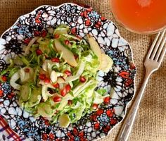 apple pomegranate brussels spout salad-Joy the Baker (use pistachios instead of almonds during the cleanse)