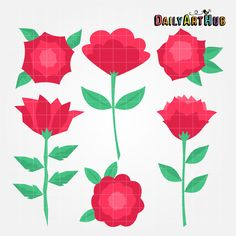 FREE Simple Roses Clip Art Set