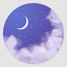 Original artwork depicting a romantic night sky with crescent moon. Size: inch (sheet of Color: night/sky. Cd Wall Art, Cd Art, Night Sky Painting, Moon Painting, Round Canvas, Vinyl Record Art, Aesthetic Painting, Diy Décoration, Diy Canvas Art