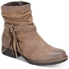 Born Abernath Tasseled Booties ($150) ❤ liked on Polyvore featuring shoes, boots, ankle booties, taupe, slouchy boots, slouch booties, rugged boots, taupe boots and slouchy booties