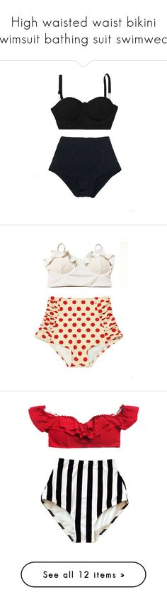 """""""High waisted waist bikini swimsuit bathing suit swimwear"""" by venderstore on Polyvore featuring swimwear, bikinis, swimsuits, bathing suit, light pink, women's clothing, white swimsuit, high-waisted bathing suits, vintage high waisted bikini and white high waisted bikini"""
