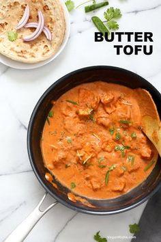 "Restaurant Stil Tofu Butter Masala Rezept - Indische Butter Tofu ""Paneer"". Milchfreies Tofu Paneer Butter Masala. Tofu ist mariniert und gebacken dann in Tomaten-Ingwer Cashew-Sauce gekocht. Vegan Glutenfreies Rezept. Aufrechtzuerhalten VeganRicha.com"