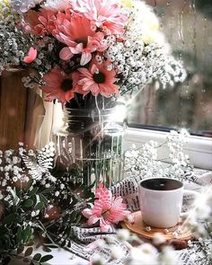 Good Morning Coffee Gif, Coffee Time, Coffee Flower, Animated Love Images, Baby Pink Aesthetic, Beautiful Bouquet Of Flowers, Coffee Illustration, Good Morning Flowers, Beautiful Gif