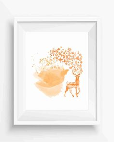 Deer with leaves in autumn style,Deer prints,Home Decor,Instant Download,Watercolor art,Digital Prints,JPEG,HIGH RESOLUTION