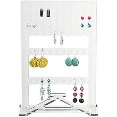 Our two-piece Acrylic Earring Organizer prevents the need to hunt for missing mates or backs. It's translucent so you can quickly spot the ones you want. The holder slips in and out of the stand easily so it's convenient to pull a pair out and put them back when you're finished. Plus, it's attractive enough to display on a vanity, dresser or countertop.
