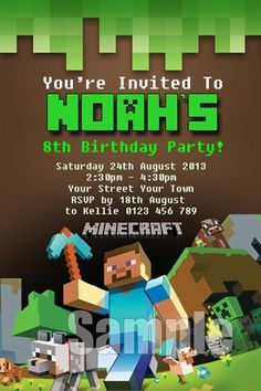 Minecraft birthday invitation digital printable file printable minecraft invitation minecraft invite birthday invitation minecraft party stopboris Image collections