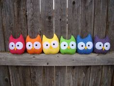 Mini Owls rainbow set by Heart Felt Designs