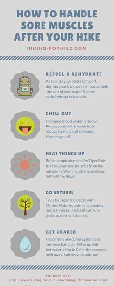 Sore muscles after hiking? Use these tips to handle muscle soreness and take good care of yourself once your hiking boots come off.