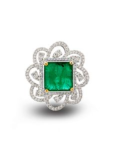 Square cut emerald with floral diamond pattern surround