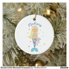 Blonde Little Mermaid Ornament Baby First Christmas Ornament, Baby Ornaments, Babies First Christmas, Christmas Cards, Little Mermaid Baby, Mermaid Ornament, Unique Photo, Holiday Decor, Prints