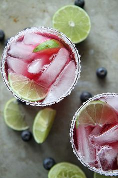 Blueberry Lime Margaritas by heatherchristo #Cocktail #Margarita #Blueberry #Lime