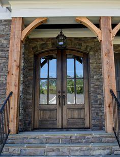 Arch Top True Divided Lite Double Entry Door and Sizes) - Grand Entry Doors Door Entryway, Entrance Doors, Garage Doors, Barn Garage, House Entrance, Up House, House With Porch, Double Front Entry Doors, Door Sweep