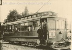 Wausau trolley to Rothschild Pavilion.  From the photo archives of Marathon County Historical Society. http://www.marathoncountyhistory.org