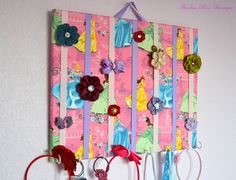 hair accessory organizer | LARGE Princess Hair Bow Holder Accessory Organizer With Hooks for ...