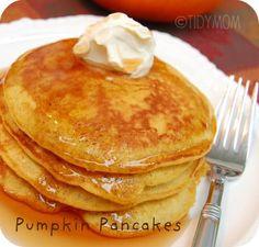 Pumpkin Pancakes! Recipe at TidyMom.net