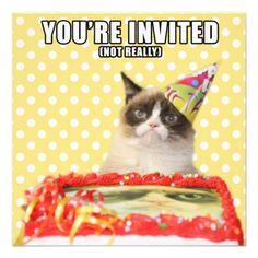 Grumpy Cat™ - You're Invited Invitation Card. Price: $2.35 More #GrumpyCatCards on www.pinterest.com/erikakaisersot