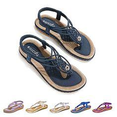 9199c992f17dee Socofy Sandales Plates Femmes Chaussures de Ville Été à Talons Plats Tongs  Claquettes Entredoights avec Semelle