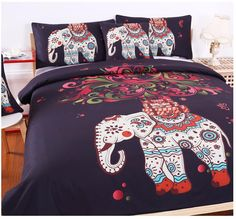 Unique Bohemia Elephant Duvet Cover Set