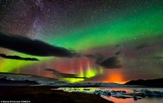 See Northern Lights, Milky Way and an ERUPTING VOLCANO in one photo. Scottish photographer Maciej Winiarczyk got the Northern Lights, the Milky Way and an erupting volcano all in one shot during a recent trip to Iceland. Medan, Aurora Borealis, Pictures Of The Week, Cool Pictures, Life Pictures, Northern Lights Iceland, Erupting Volcano, Iceland Photos, Volcanoes