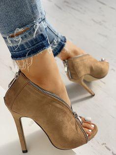 ab489c088098d boutiquefeel   Suede Zipper Design Peep Toe Heeled Boots