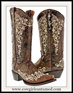 """YOUR NEW """"GO TO"""" BOOTS!! Rhinestone Studded Tan Floral Embroidery on Brown GENUINE LEATHER Western Boots #cowgirlboots #westernboots #boots #leather #floral #crystal #rhinestone #sniptoe #brownboots #beautiful #boutique #fashion #cowgirl #western #onlineshopping"""