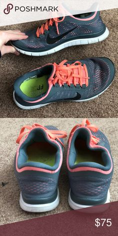 Nike 3.0 Frees Gray with coral Nike 3.0 Nike Shoes Athletic Shoes