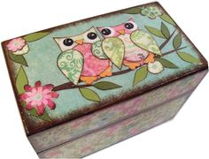Recipe Box  Holds 4x6 Recipe Cards---Cute Colorful Owls--