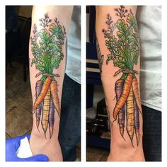 added these carrots to Taylor's chef inspired half sleeve the other day thanks…