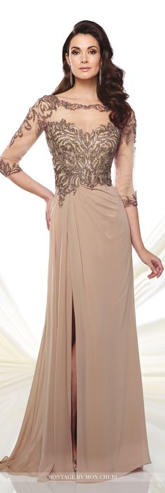 Formal Evening Gowns by Mon Cheri - Fall 2016 - Style No. 216969 - chiffon evening gown with beaded bodice and illusion neckline and sleeves