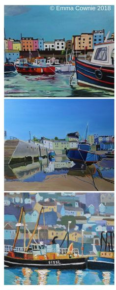 Three harbour scenes by artist Emma Cownie