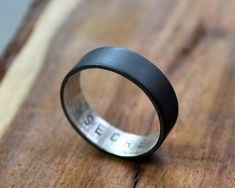Men's Oxidized Secret Message Ring. Custom Stamped by Epheriell