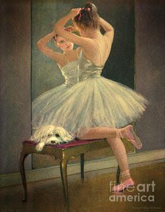 girls in ballet slippers with their favorite puppy dog, oh my.. a Maltese.