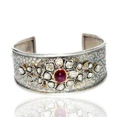 18K GOLD DESIGNER BANGLE RUBY SILVER ROSE CUT DIAMOND FASHION JEWELRY