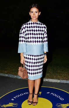 Miroslava Duma wearing TOD'S top and skirt; Hermes bag; Gianvito Rossi shoes // POLO Ralph Lauren S/S 15 after-party #NYFW