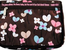 """[""""Little girls will love carrying their Bible to church in this cute \r\nBible cover. The canvas Bible case is brown with flowers and features a zippered closure. \r\n The convenient outside zippered pocket, spine handle and pen loop make \r\nit easy for her to carry all of her essentials in this Bible cover.Holds Bibles up to 9-1\/2\""""(L) x 7\""""(W) x 1-1\/2\""""(D)""""] $19.99 Bible Cases, Little Girls, Projects To Try, Coin Purse, Essentials, Handle, Closure, Pocket, Canvas"""