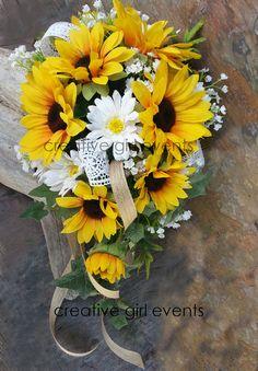 COUNTRY CHIC Burlap & Lace 2 Piece Sunflower by CreativeGirlEvents