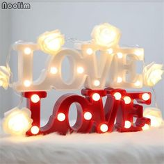 Romantic Love Letter LED Warm White LED Night Light Table Lamp for Bedroom/Bedside Decorations Wedding Party Valentine's Day Valentines Day Decorations, Wedding Decorations, Deco Led, Romantic Table, Light Up Letters, Table Lamps For Bedroom, Hotel Decor, Marquee Wedding, Decorating Rooms