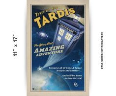 11x17 Travel by TARDIS // Vintage Styled Doctor Who by TheArtEye