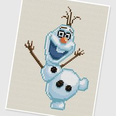 PDF Cross Stitch pattern  0207.Olaf easily convert to a patched quilt Do anna and elsa on opposite sides of a blanket