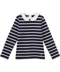 Petit Bateau prachtig marine gestreepte t-shirt met wit kraagje. petit-bateau.nl.emilea.be