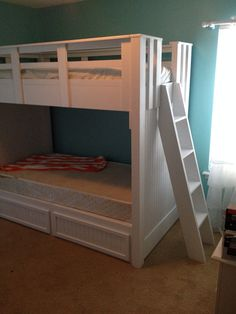 Full bunk bed with storage drawers by scmercantile on Etsy