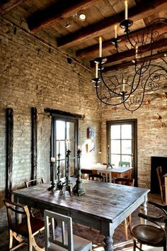 dining rooms, decor, interior, bricks, hous