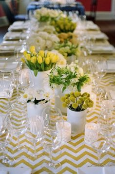 Wedding Table Decorations Yellow Lanterns - yellow + white tabletop with chevron pattern // easter brunch table Wedding Table Decorations, Decoration Table, Wedding Centerpieces, Table Chevron, Chevron Tablecloth, Yellow Chevron, Yellow White Wedding, Yellow Weddings, White Table Top