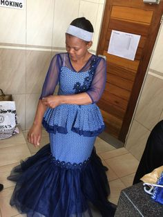 Bridesmaids In Blue Off Shoulder Shweshwe Mermaid Dresses for Bridesmaids looking gorgeous in Shweshwe Dresses, Mermaid Dresses, Looking Gorgeous, Off The Shoulder, Peplum Dress, Cool Style, African, Satin, Hair Style