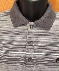 Banana Republic Short Sleeve Polo Shirt Men's Size XL Gray White Stripe Slim Fit | eBay
