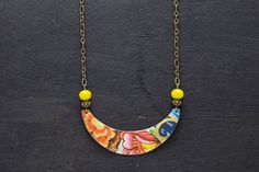 Colorful Crescent Necklace with Yellow Facted Glass Beads, Small Necklace, Everyday Necklace, Antique Brass Chain, Hipster Jewelry