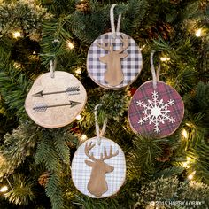 Get crafty this Christmas season and adorn your tree with chic handmade ornaments made by you! To make these ornaments you'll fa-la-la in love with, use patterned paper in the shape of your wooden coaster, and paint on with Mod Podge, adding fun embellishments like snowflakes, a deer head and arrows! Tie a ribbon through the top of your coaster and hang from your Christmas tree!