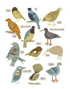 Kate Sutton: Birds of New Zealand giclee print Vogel Illustration, New Zealand Art, Nz Art, Maori Art, Kiwiana, Bird Drawings, Illustrations, Bird Art, Bird Feathers